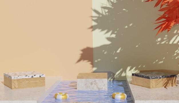 중간 프리미엄 사진에서 큐브 모양의 대리석 연단 전망과 맑은 물을 보여주는 3d 배경