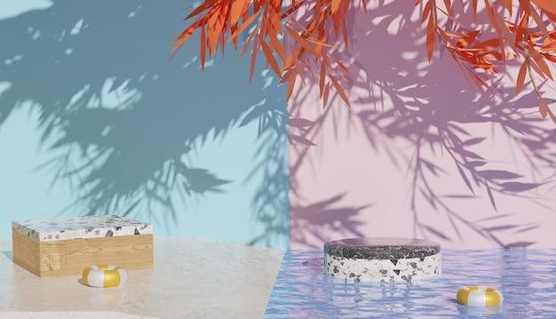 그림자 프리미엄 사진이 있는 대리석 연단 전망과 맑은 물을 보여주는 3d 배경
