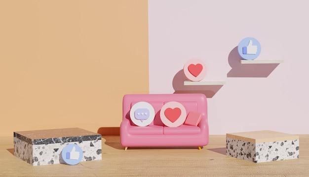 大理石の表彰台のビューとソーシャルメディアのシンボルを示す3d背景サイバーマンデー