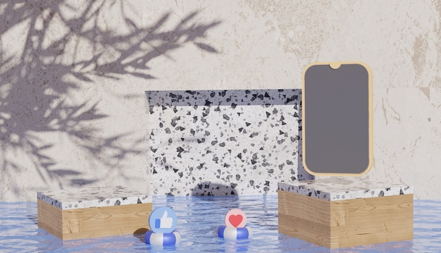 水の上のスマートフォンとソーシャルメディアのシンボルと大理石の表彰台のビューを示す3d背景