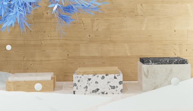 3개의 대리석 연단이 있는 3d 배경과 나무 배경 겨울 테마에 눈으로 둘러싸인 나뭇잎