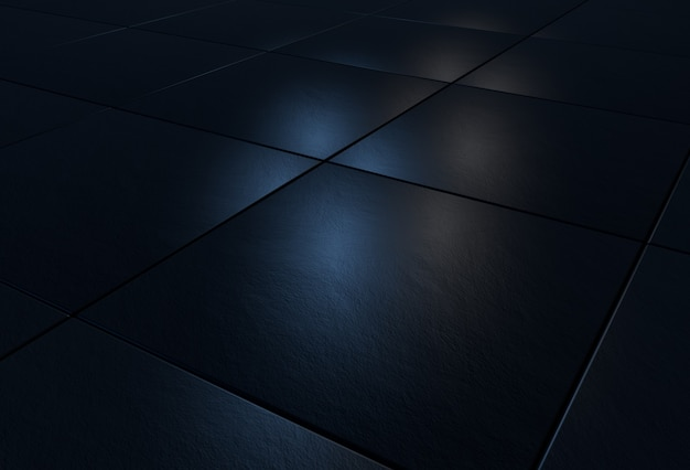 3d background with black stone tiles lit by blue and white light