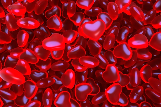 3d background with candy jelly beans hearts