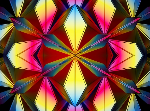 3d background with fractal symmetry alien flower