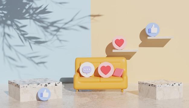 ソーシャルメディアのシンボルと真ん中に大理石の表彰台とソファと3d背景