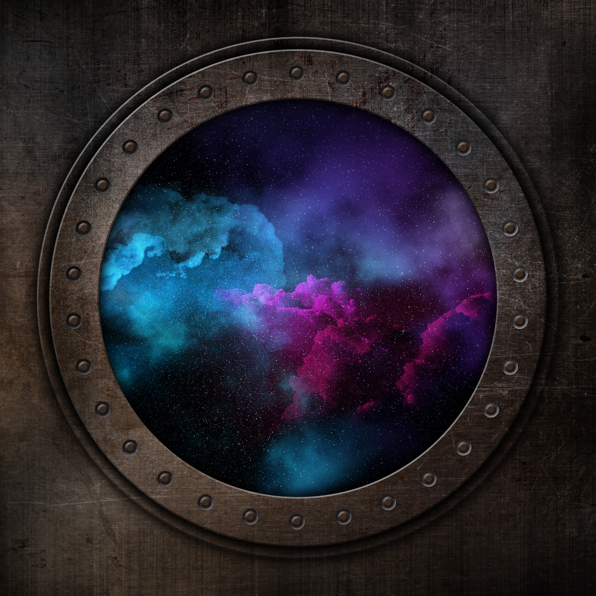 3D background with night space sky out of old porthole window
