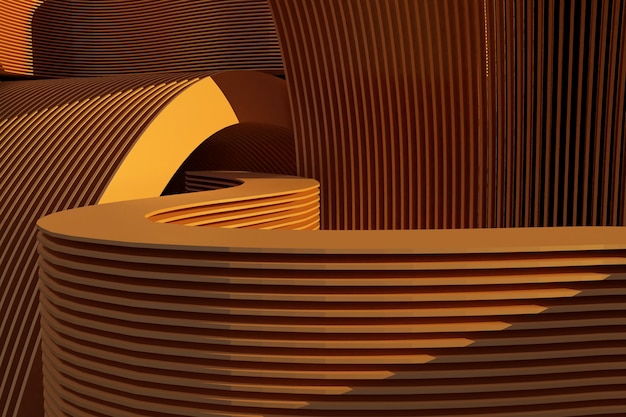 3dの背景。最小限の抽象的な背景3d。茶色の円形のジオメトリ形状。 3dレンダリングのイラスト。