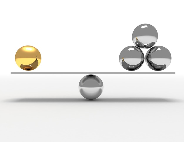 3d 균형 개념입니다. 3d 렌더링 된 그림