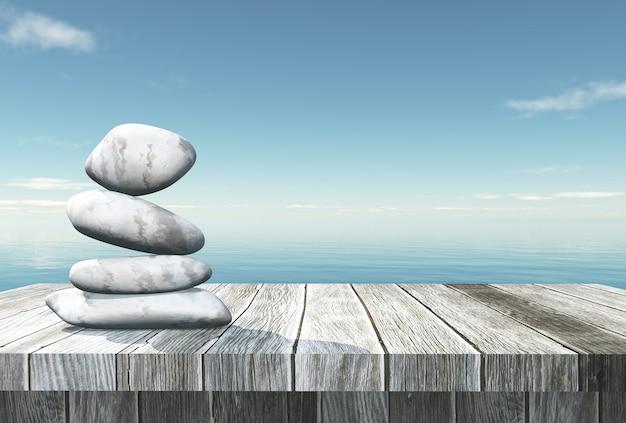3d балансирующая галька на деревянном столе, глядя в океан