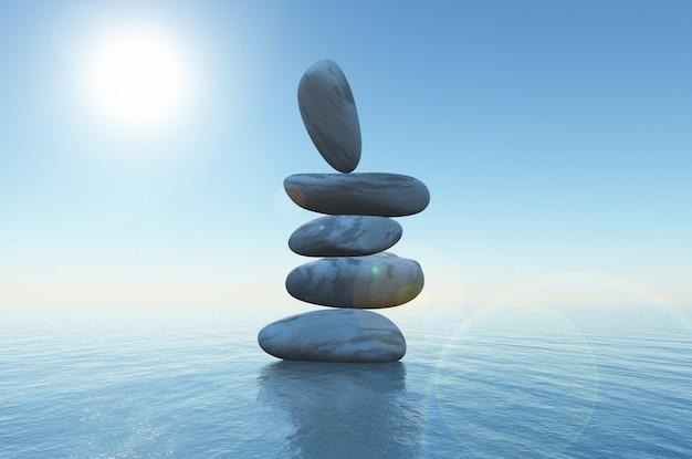 3d balancing stones in the ocean