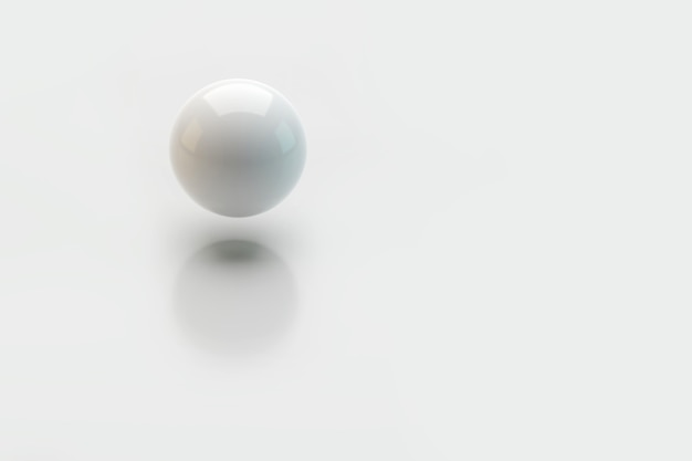 3d ball levitates in the air with a shadow on white