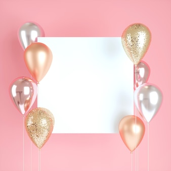 3d balloons with sequins and white sticker