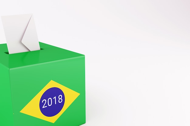 3d ящик для голосования с флагом бразилии. выборы 2018.