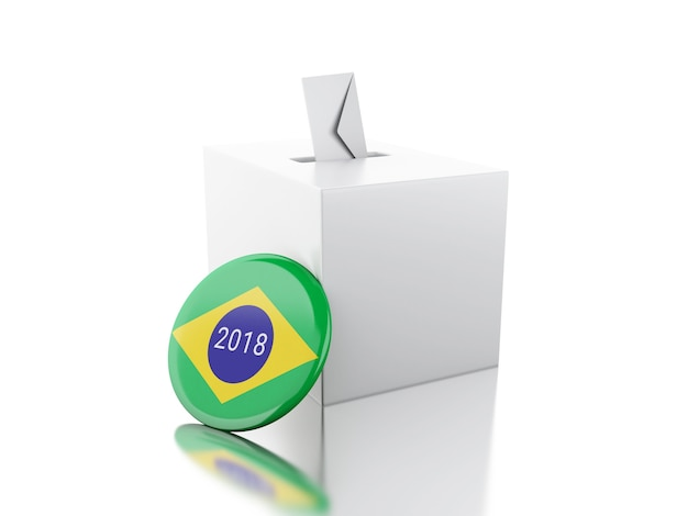 3d ballot box with pin of brazil. elections 2018.