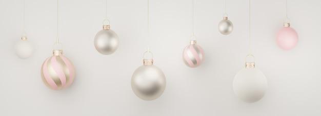 메리 크리스마스와 새해 컨셉으로 제품 및 화장품 프레젠테이션을 위한 3d 배너 디스플레이