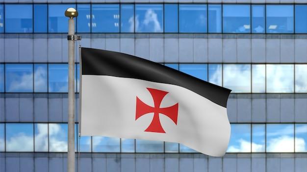 3d знамя тамплиеров в современном городе, средневековый католический военный орден. флаг бедняков христа и храма соломона. ткань ткань текстуры прапорщик фон