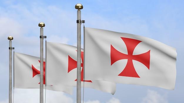3d знамя тамплиеров с голубым небом, средневековый католический военный орден. флаг бедняков христа и храма соломона. ткань ткань текстуры прапорщик фон