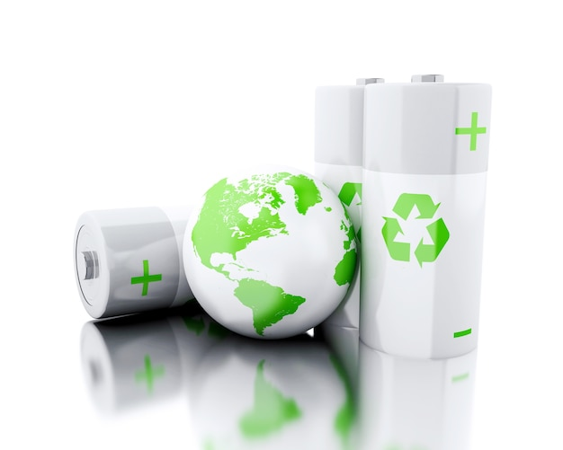 3d batteries with recycling symbol and earth globe