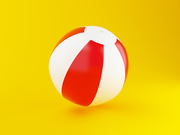 3d beach ball on sand.