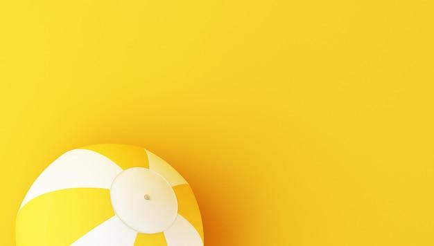 3d beach ball on yellow background.