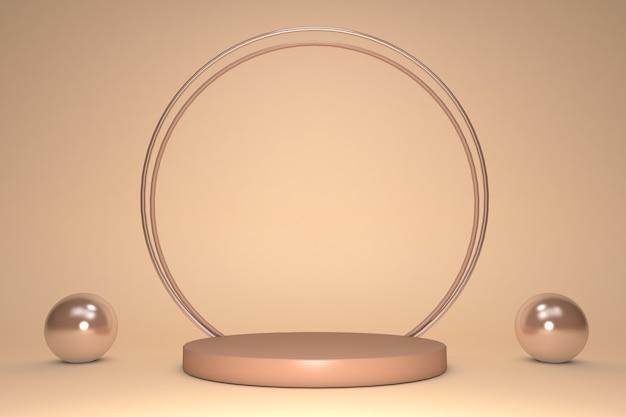 3d 아름 다운 베이지 색 빛나는 효과 라운드 연단 파스텔 배경에 고립 된 골드 장식 원 프레임.