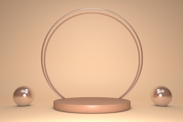 3d beautiful beige shining effect round podium with gold decoration circle frame isolated on pastel background.