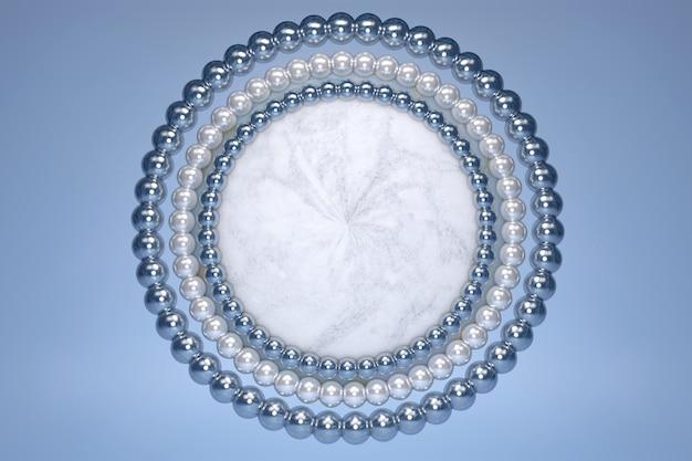 흰색 빛나는 진주 장식 테두리와 블루 파스텔 배경에 동그라미와 3d 아름 다운 푸른 대리석 효과 원 연단.