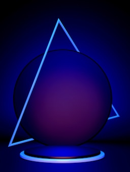 3d beautiful blue round podium with triangle frame isolated on dark background minimal vertical scene with geometrical objects  to show cosmetic or beauty product