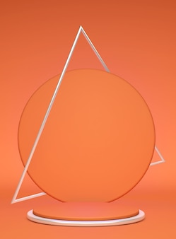 3d beautiful orange round podium with silver triangle frame isolated on bright background. minimal vertical scene with geometrical objects.  to show cosmetic or beauty product.