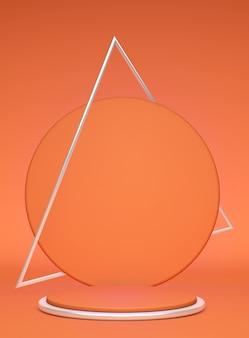 明るい背景に分離された銀の三角形のフレームと3d美しいオレンジ色の丸い表彰台。幾何学的オブジェクトを含む最小限の垂直シーン。化粧品や美容製品を表示します。