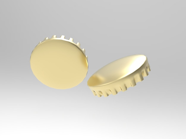 3d beer cap rendering illustration mockup illustration
