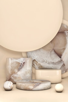 3d beige marble cube, square box podium against pastel background.