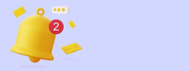 봉투 알림을 위한 3d 벨 빈 공간이 있는 수평 3d 렌더링의 그림
