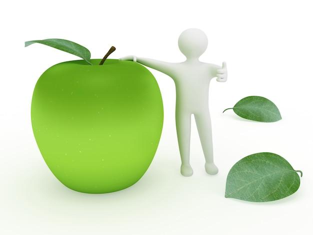 3dの大きな青リンゴと親指を上に表示する人間の形をした図