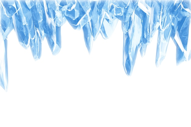 3d big icicles, broken blue crystal ice wall with hole
