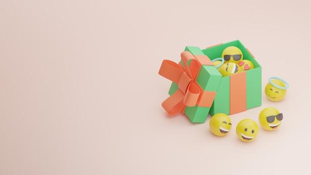 3d 생일 선물 상자와 이모티콘
