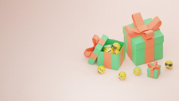 3d 생일 선물 또는 경품 상자 및 이모티콘 프리미엄 이미지