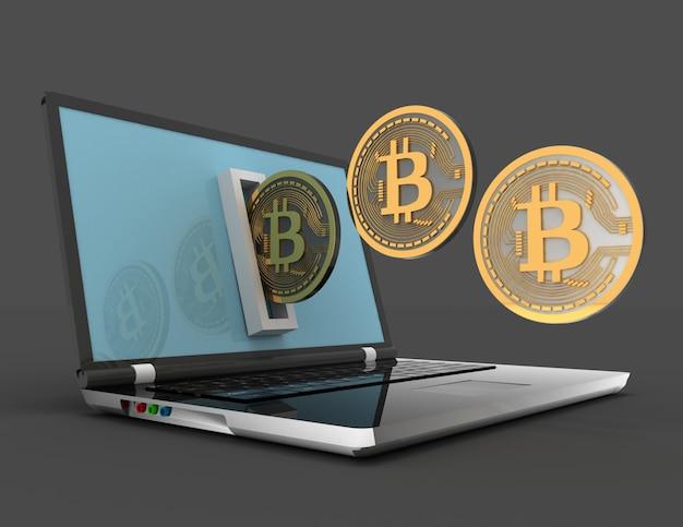 3d биткойн и ноутбук. 3d визуализированная иллюстрация