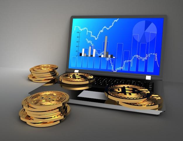 3d концепция биткойнов и ноутбука. 3d визуализированная иллюстрация