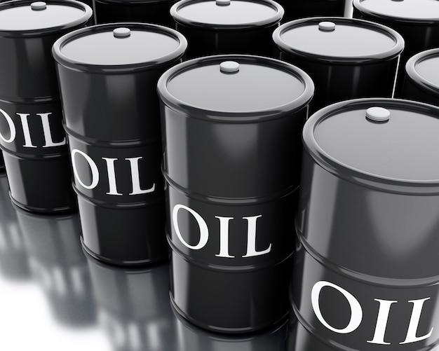 석유의 3d 검은 배럴. 사업 개념.