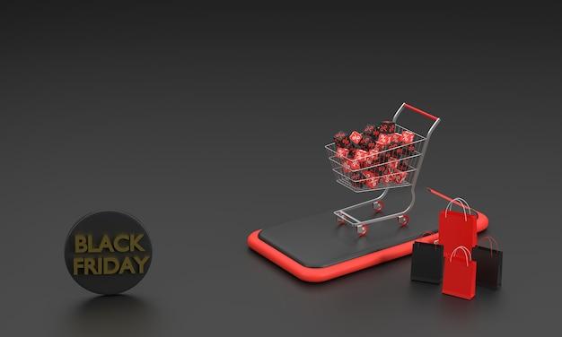 3d. 검은 금요일 축제 판매 슈퍼마켓 카트 및 휴대 전화 캠페인 판촉 쇼핑