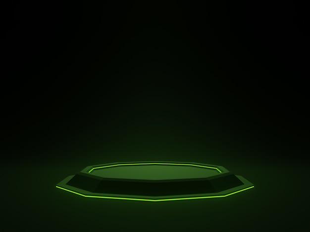 녹색 네온 불빛 과학 연단과 3d 검은 미래 스탠드