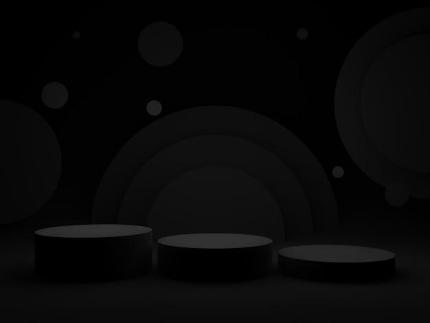 3d black geometric podium. dark background.
