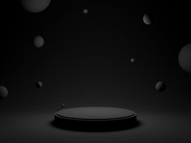 3d黒の幾何学的表彰台。暗い背景。