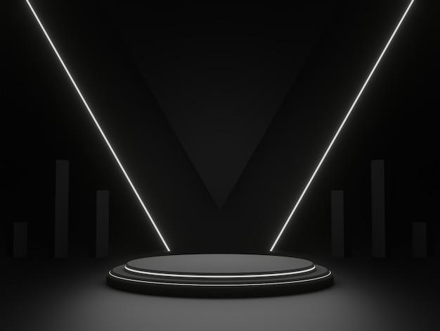 흰색 네온 불빛이 있는 3d 검은색 기하학적 무대 연단. 어두운 배경입니다.