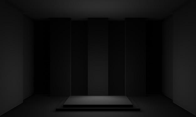 3dブラックジオメトリックステージ
