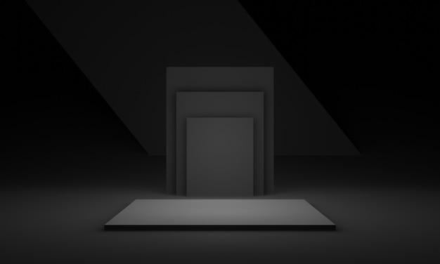3d 검은 기하학적 단계.