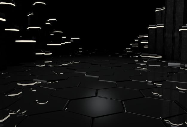六角形の床と輝く柱のある3dブラックインテリア