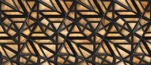 3d black loft lattice tiles on wooden oak background