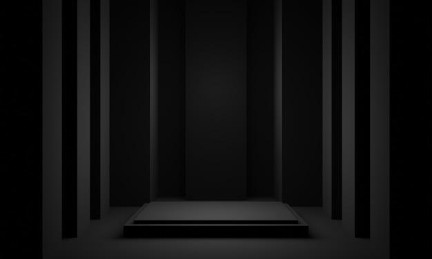 3dブラックルームの幾何学的な製品スタンド。